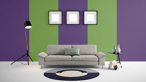 High resolution 3d illustration with green and purple color wall background and furniture. This is the High resolution 3d illustration with green and purple Stock Images