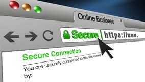 3D Illustration Online Business SSL Secure Browser. High resolution 3d illustration of SSL Secure Browser with text Online Business Secure. Great conceptual Stock Image