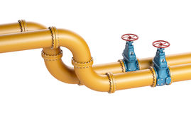 High resolution 3D Industrial yellow pipeline with blue valves on white background Royalty Free Stock Photo