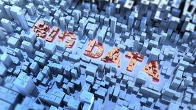 Big data concept. High resolution 3D render with words Big Data in a high technology surrounding Royalty Free Stock Photo