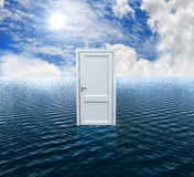 High resolution 3D white door opened on the water Stock Image