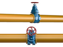 High resolution 3D yellow Industrial pipeline with blue valves on white background Royalty Free Stock Photography