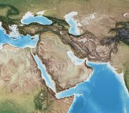 Free High Resolution Detailed Map Of Middle East Royalty Free Stock Photography - 215342037
