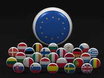 High resolution European Union symbols. European Union. High resolution 3d render on black Royalty Free Stock Photography