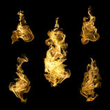 High resolution fire collection of isolated flames on black back. Ground Royalty Free Stock Image