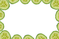 High resolution frame made of cucumber slices stock image