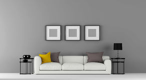 High resolution grey empty wall with some furniture and photo frames 3d illustration. This is the High resolution grey empty wall with some furniture like sofa Royalty Free Stock Photo