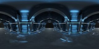 Free High Resolution HDRI Of A Dark Blue Futuristic Interior Looking Like A Spaceship. 360 Panorama Reflection Mapping Of A Huge Shed Stock Image - 178151691
