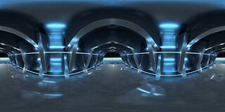 Free High Resolution HDRI Of A Dark Blue Futuristic Interior Looking Like A Spaceship. 360 Panorama Reflection Mapping Of A Huge Shed Stock Photography - 178988572