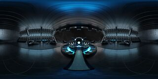 Free High Resolution HDRI View Of A Dark Blue Futuristic Landing Strip Spaceship Interior. 360 Panorama Reflection Mapping Of A Huge Stock Photos - 178151683