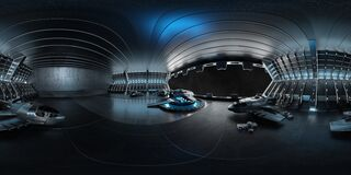 Free High Resolution HDRI View Of A Dark Blue Futuristic Landing Strip Spaceship Interior. 360 Panorama Reflection Mapping Of A Huge Royalty Free Stock Photography - 182329627