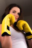 Beautiful female boxer Royalty Free Stock Image