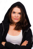 Beautiful female trainer with hooded jumper Royalty Free Stock Photography
