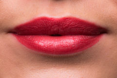 Female lips with red lipstick Stock Images