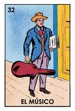 Lotería Mexicana - El Músico - High resolution image. High resolution image of Mexican Lottery character El Músico. Illustration of a male musician stock illustration