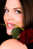 Sexy young female with rose Stock Images