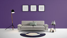 High Resolution Living Area 3d Illustration With Dark Purple Color Wall And Designer Furniture. Royalty Free Stock Image