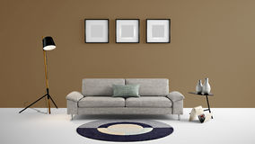 High resolution living area 3d illustration with brown color wall and designer furniture. This is the High resolution living area 3d illustration with brown Royalty Free Stock Image