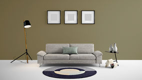 High resolution living area 3d illustration with brown grey color wall and designer furniture. This is the High resolution living area 3d illustration with Stock Photos