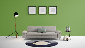 High resolution living area 3d illustration with dark green color wall and designer furniture. This is the High resolution living area 3d illustration with dark Stock Photo