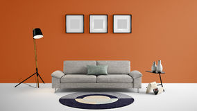 High resolution living area 3d illustration with orange color wall and designer furniture. This is the High resolution living area 3d illustration with orange Stock Photos