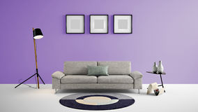 High resolution living area 3d illustration with purple color wall and designer furniture. This is the High resolution living area 3d illustration with purple Royalty Free Stock Image