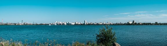 Yekaterinburg city panorama from the shore of pond stock photos