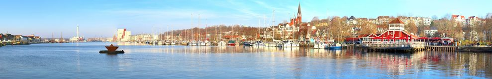 High resolution panorama of different cities like Hamburg Flensburg and Vienna royalty free stock photo