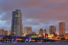 High Resolution Panorama, Downtown Miami Florida Royalty Free Stock Images