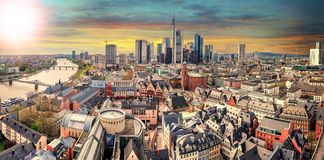 High resolution panorama of Frankfurt am Main, Skyline. With financial district. Germany stock photography