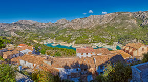 High Resolution Panorama of Guadalest Village and Lake Stock Photos