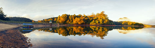 High resolution panorama lake with reflection of forest Royalty Free Stock Photos
