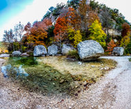 High Resolution Panorama at Lost Maples, Texas. High Resolution Panoramic View of a Crystal Stream and Granite Boulders Surrounded with Fall Foliage at Lost Stock Image
