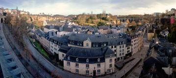 High-Resolution Panorama of the Old City of Luxembourg. A high-resolution panorama of the Neumunster Abbey and the Grund, the old town of Luxembourg-City, Europe Stock Image