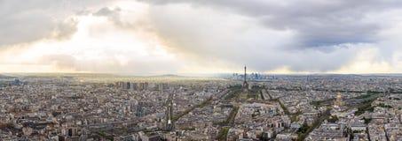 High Resolution Panorama Of Paris Skyline With Eiffel Tower Stock Photo