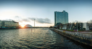 High Resolution Panorama of River Clyde in Glasgow stock images