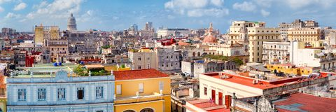 Panoramic view of Old Havana including the Capitol building Royalty Free Stock Photo
