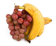 High resolution photo of dark grapes and bananas Royalty Free Stock Image