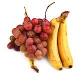 High resolution photo of dark grapes and bananas stock photo