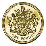 One Pound Coin GBP Isolated on White With Clipping Stock Photography