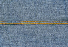 Denim Fabric Texture - Light Blue With Seams. High resolution scan of blue denim fabric, with two horizontal yellow seams crossing Royalty Free Stock Photo