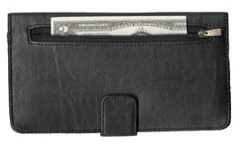 High resolution scan of leather wallet and two dollar bill. High resolution scan of a two dollar bill inside a pocket on a black leather wallet. This image is stock photography