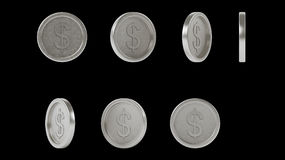 High resolution shiny metal silver coins set stock photography