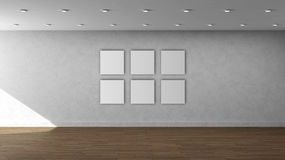 High resolution white wall empty interior template with 6 white color square frames on front wall. This is the High resolution white wall empty interior royalty free illustration