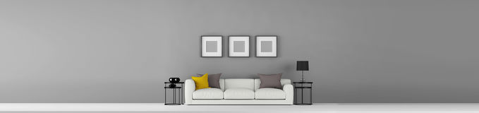 High resolution wide grey empty wall with some furniture and photo frames 3d illustration. This is the High resolution wide grey empty wall with some furniture stock illustration