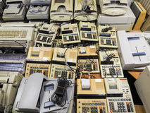 High resolution wide shot of disposed old cashier machines and c Stock Photography