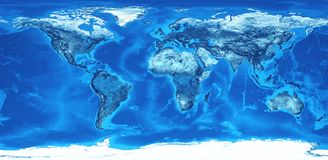 High resolution world map in blue. Detailed flat view of the Earth and its landforms. Global world map colored in blue. 3D illustration - Elements of this image royalty free illustration