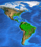 High resolution world map focused on America. Detailed satellite view of the Earth and its landforms. North and South America map. Elements of this image royalty free stock photo
