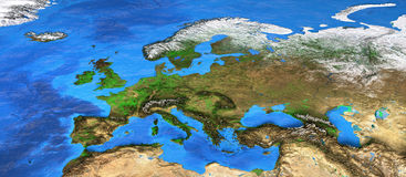 High resolution world map focused on Europe. Detailed satellite view of the Earth and its landforms. Europe map. Elements of this image furnished by NASA royalty free stock images