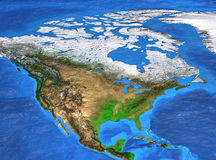 High resolution world map focused on North America. Detailed satellite view of the Earth and its landforms. North America map. Elements of this image furnished royalty free stock photo